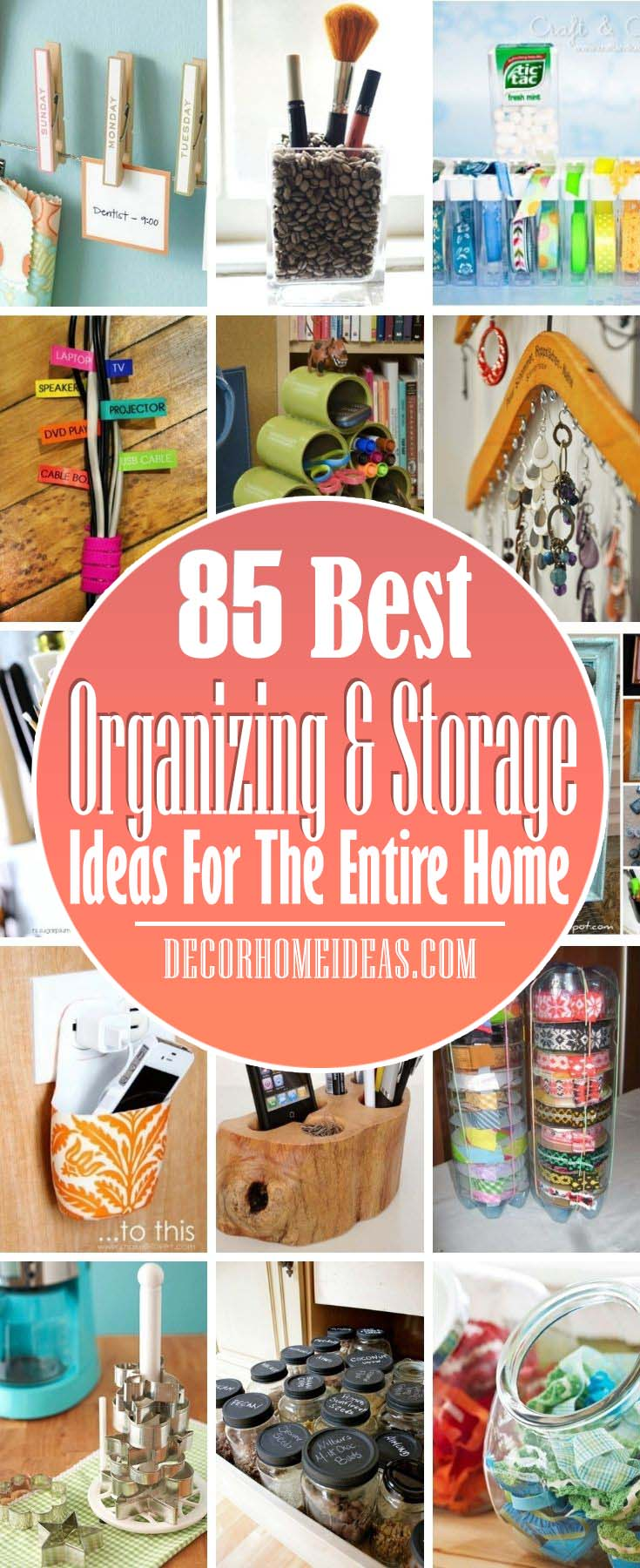 Best Organizing And Storage Ideas Entire Home. Limited on space or have too much stuff to deal with? These storage solutions will help you de-clutter every room in your home. #decorhomeideas