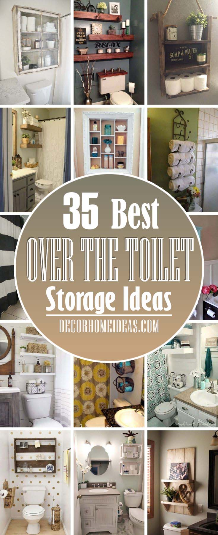 Best Over The Toilet Storage Ideas. Running short of storage space in bathroom? These 30+ over the toilet storage ideas are simply amazing and will help you add more storage no matter the size of your bathroom. Perfect for organizing a bathroom, these are the best over the toilet storage solutions. #decorhomeideas