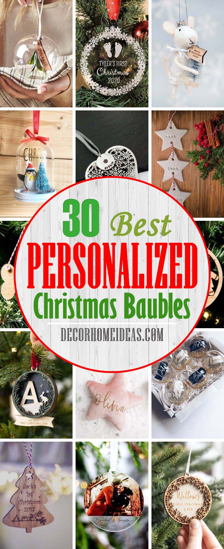 Best Personalised Christmas Baubles. Add a special touch this year with a decoration you'll treasure - you'll find personalised baubles, personalised baby's first Christmas decorations and new home baubles here. #decorhomeideas