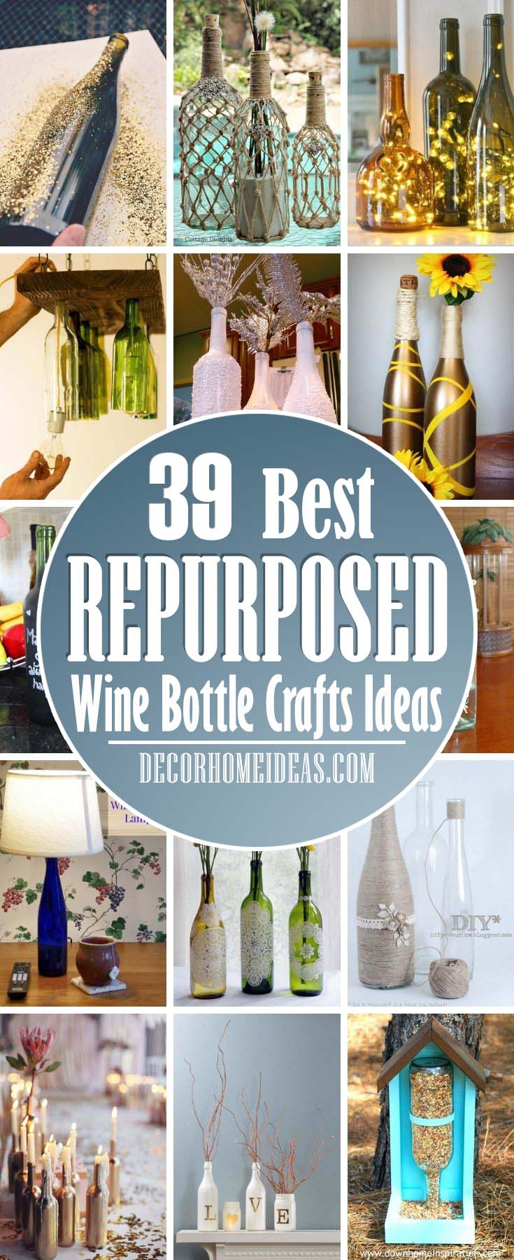 Best Repurposed DIY Wine Bottle Crafts Ideas. These DIY wine bottle crafts are the cutest ways to repurpose glass vessels. These easy DIYs make for a perfect Christmas project, Mother's Day gift, or just a decor item to keep for yourself—and an excuse to drink wine! #decorhomeideas