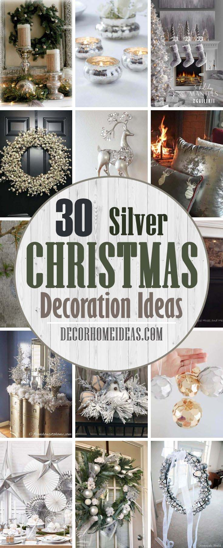 Best Silver Christmas Decorations. Silver and white color combination look surreal. It is reminiscent of the icy winter days. So this Christmas,  forget the traditional green and red and opt for silver and white theme instead. It is neutral and can be used all winter long. #decorhomeideas