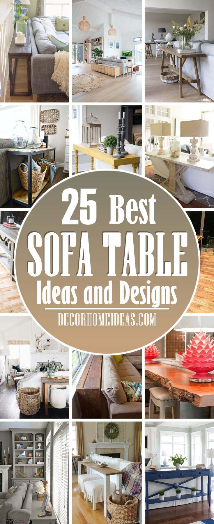 Best Sofa Table Ideas. These amazing behind the sofa tables are very popular right now, because they add functionality and aesthetics. #decorhomeideas
