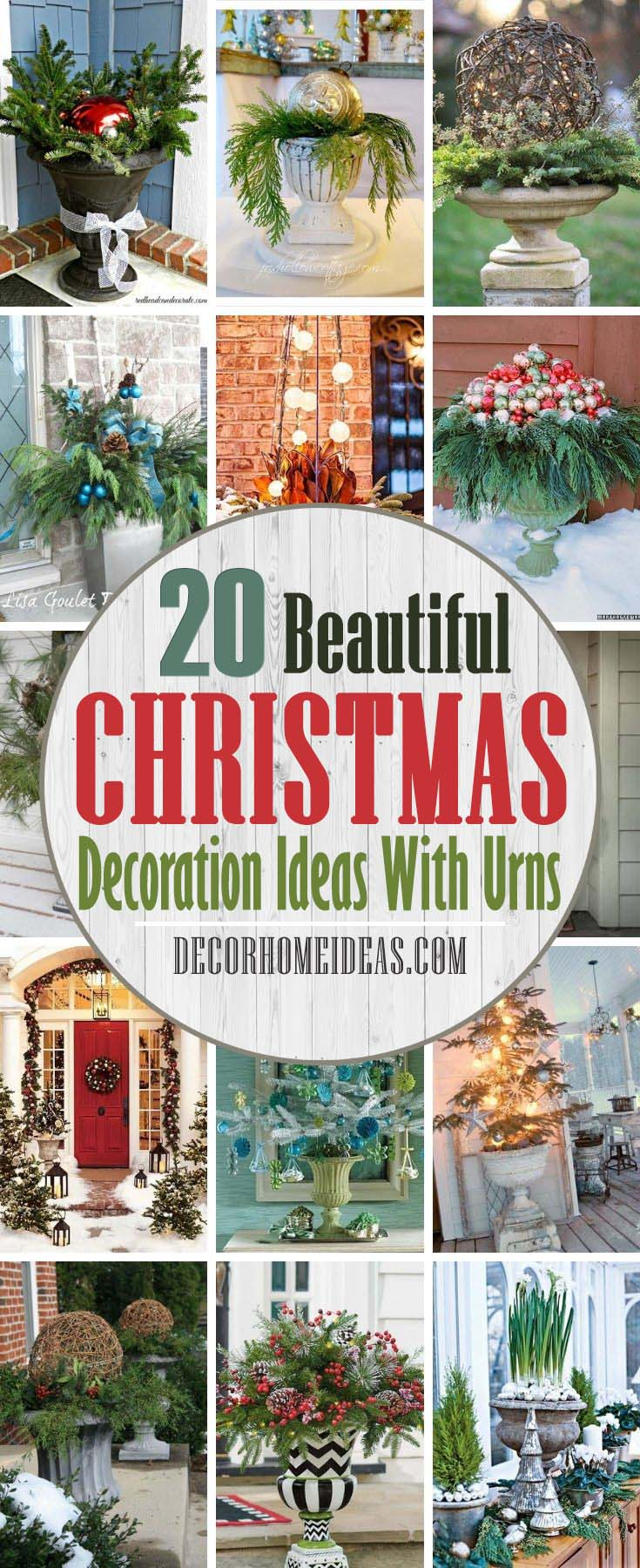 Best Ways To Decorate With Urns For Christmas. There is nothing as lovely as urns flanking a front door to amp up your curb appeal on Christmas and add to the welcoming feel of your home. #decorhomeideas