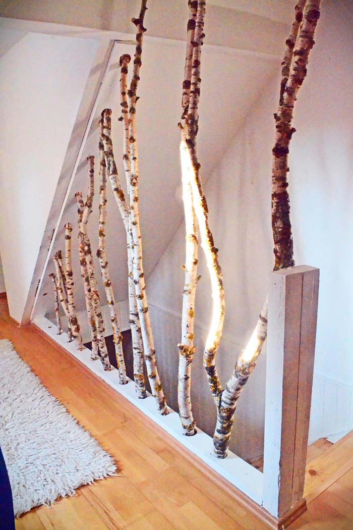 Birch Wood Stair Banister #branches #homedecor #decorhomeideas