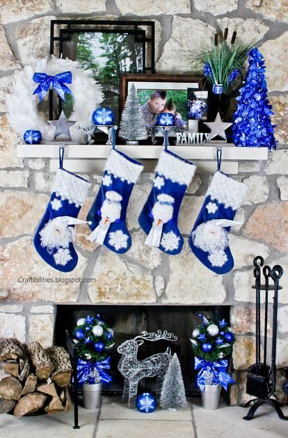 Blue And White Mantelpiece