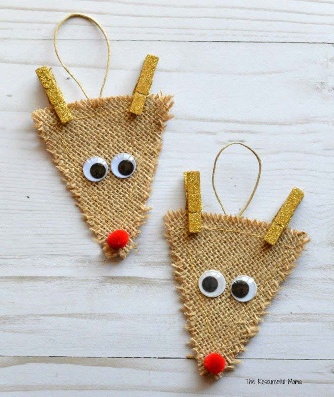 Burlap Reindeer #Christmas #ornaments #kids #diy #decorhomeideas
