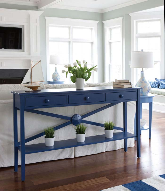 Caribbean Blue Drawer & Runner Sofa Table #sofatable #decorhomeideas