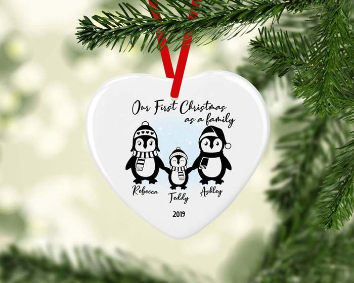Ceramic First Family Christmas Penguin Bauble #Christmas #personalizedbaubles #baubles #decorhomeideas