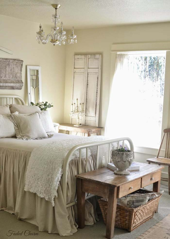 Charming Bedroom with Antique Bed Frame #frenchcountry #decor #decorhomeideas