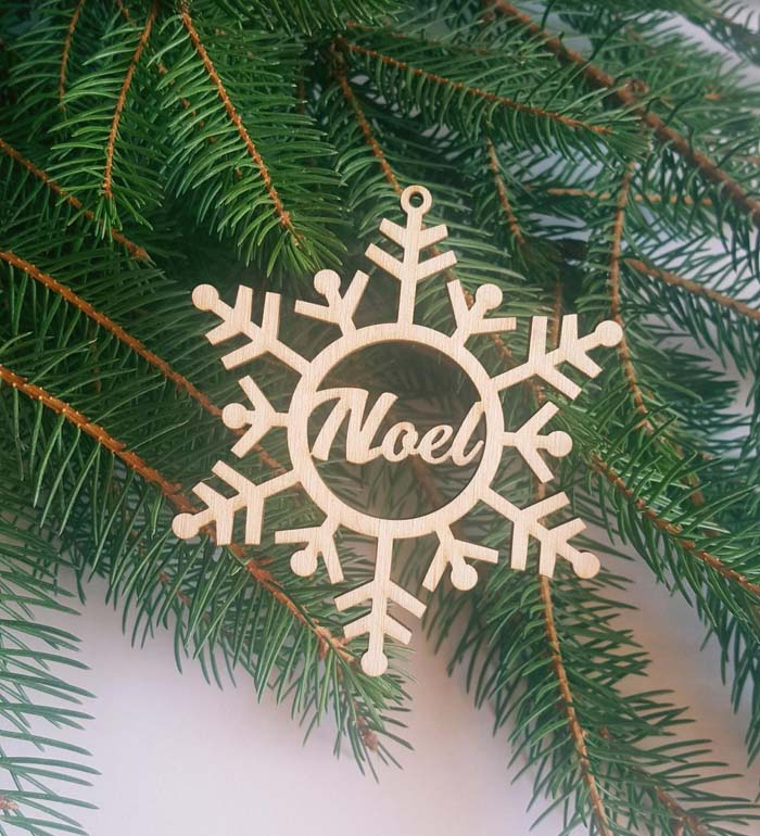 Christmas Bauble Personalized Snowflake #Christmas #ornaments #rustic #decorhomeideas