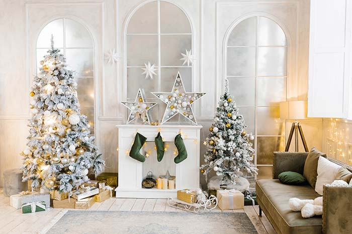 Christmas Living Room Green Accent