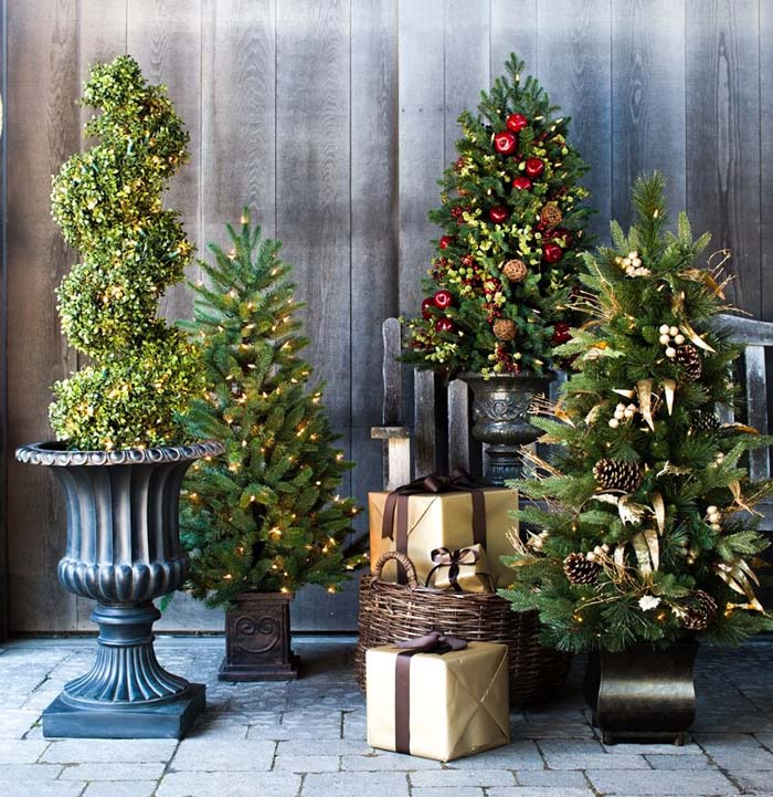 Christmas Trees in Decorative Planters #Christmastree #outdoor #decorhomeideas