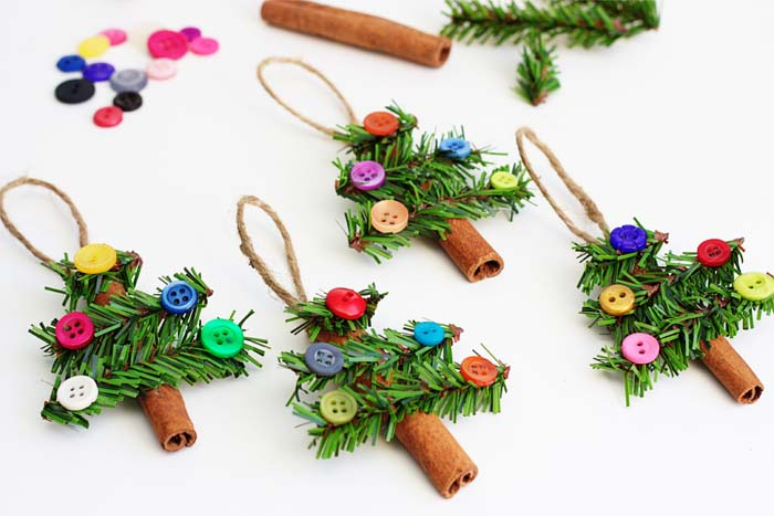 Cinnamon Stick Christmas Trees #Christmas #ornaments #kids #diy #decorhomeideas