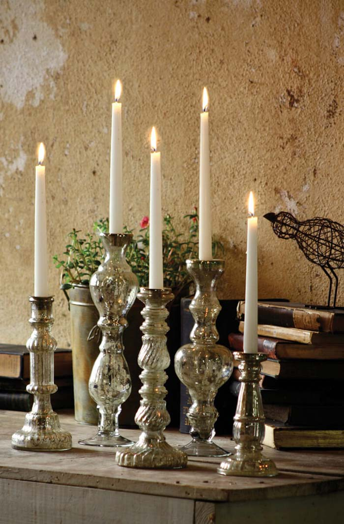 Classic Look Holders for Taper Candles #Christmas #silver #decorations #decorhomeideas