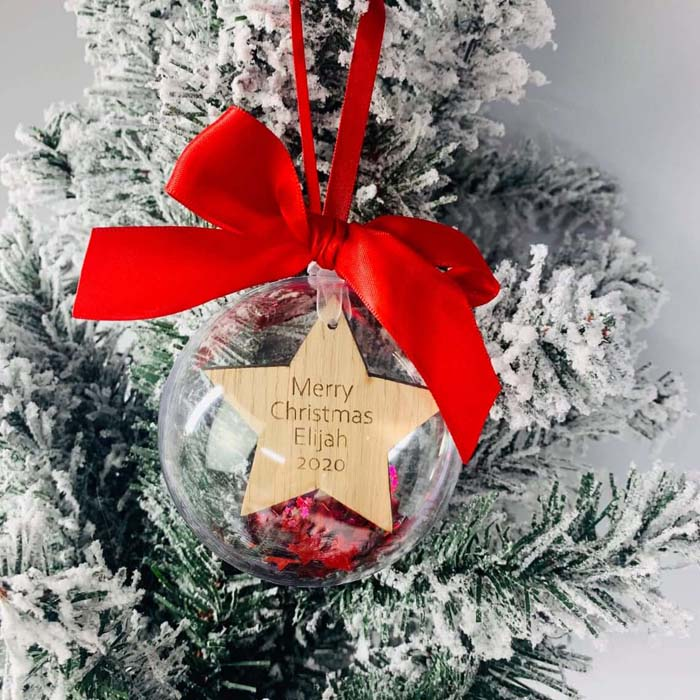 Clear Bubble Filled Star Cut Bauble #Christmas #personalizedbaubles #baubles #decorhomeideas