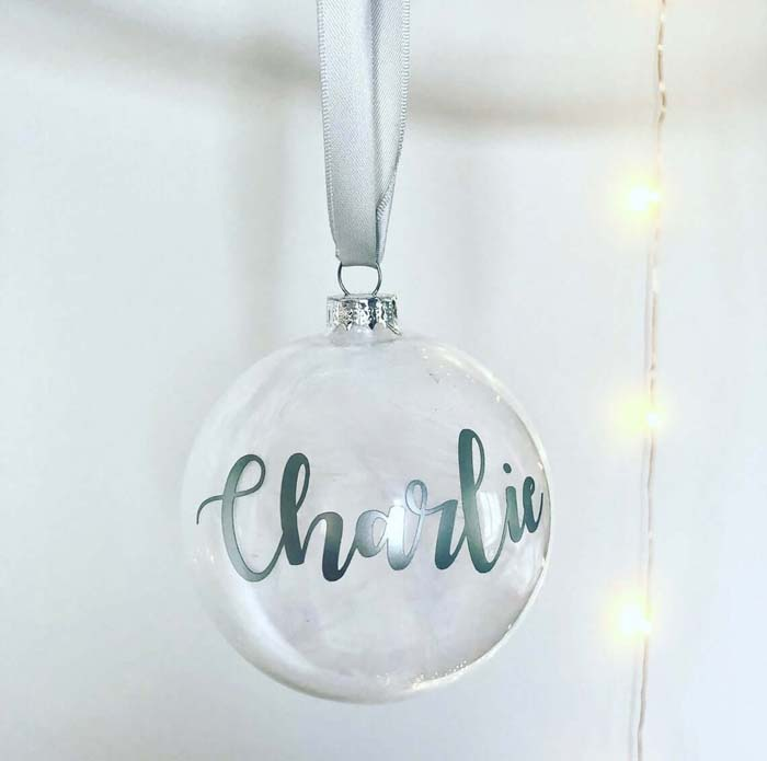 Clear Simple Hanging Personalised Bauble #Christmas #personalizedbaubles #baubles #decorhomeideas