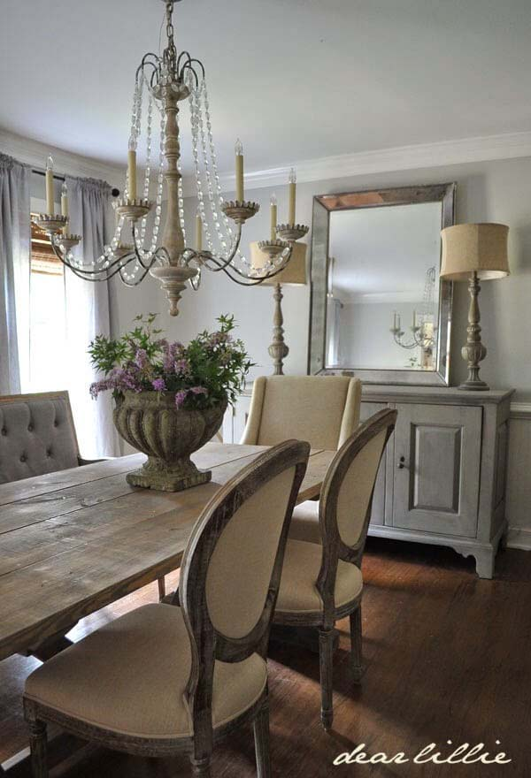 Dining Room with Plush Chairs and Credenza #frenchcountry #decor #decorhomeideas