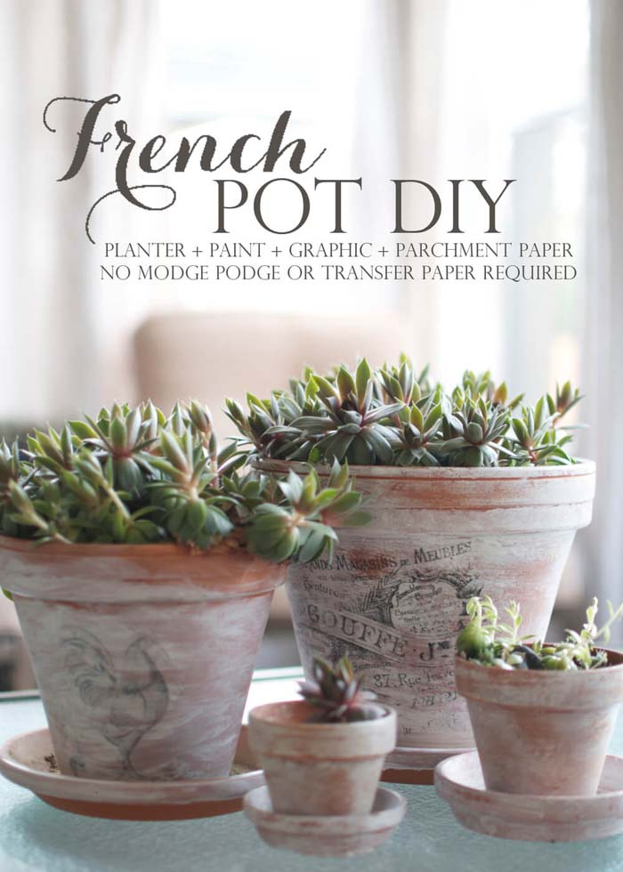 DIY Printed Graphics on Whitewashed Terracotta Pots #frenchcountry #decor #decorhomeideas