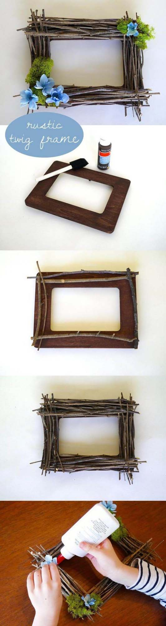 DIY Rustic Twig Frame #branches #homedecor #decorhomeideas