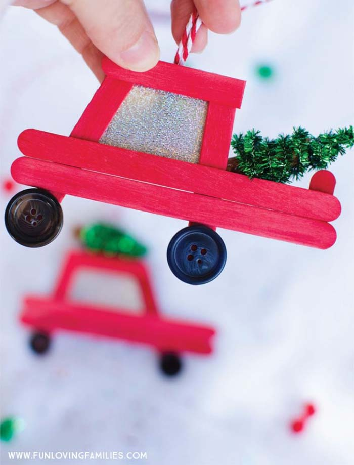 DIY Truck Popsicle Stick Ornament #Christmas #ornaments #kids #diy #decorhomeideas