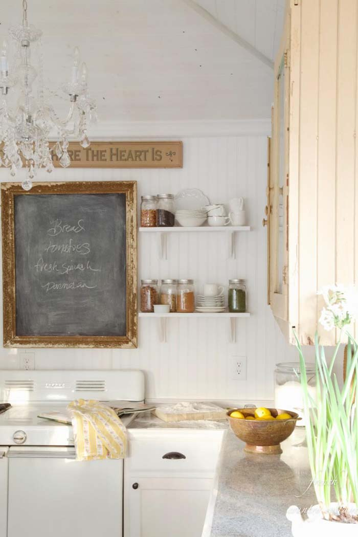 Eclectic French Kitchen with Rustic Chalkboard Sign #frenchcountry #decor #decorhomeideas