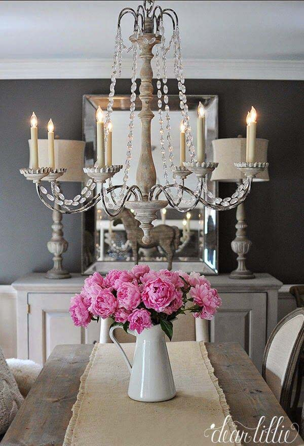 Elegant Grey Dining Room and Colorful Peonies #frenchcountry #decor #decorhomeideas