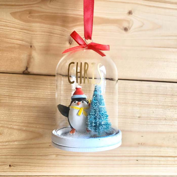 Filled Snowglobe Christmas Tree Hanging Bauble #Christmas #personalizedbaubles #baubles #decorhomeideas