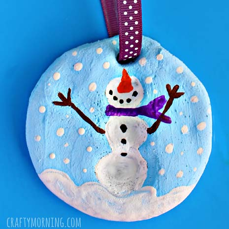 Fingerprint Snowman Salt Dough Ornament #Christmas #ornaments #kids #diy #decorhomeideas
