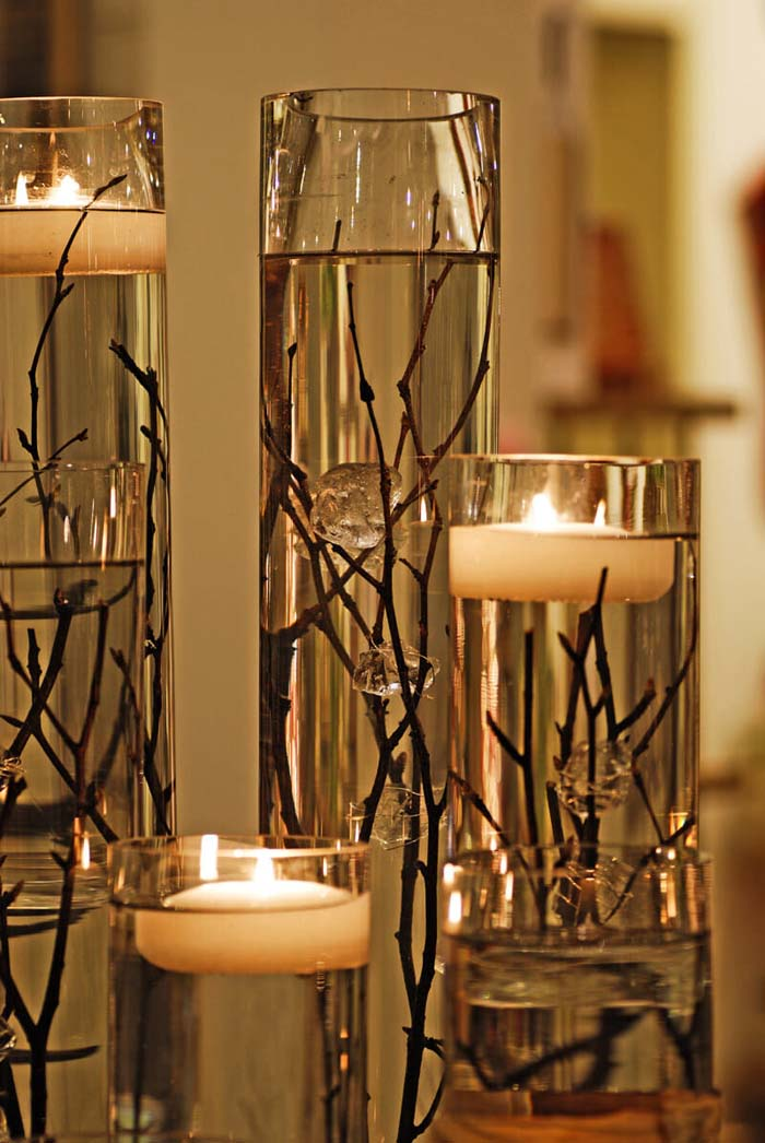 Floating By Candlelight Table Display #branches #homedecor #decorhomeideas