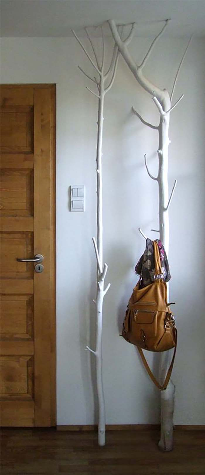 Floor-To-Ceiling Forested Hook Stand #branches #homedecor #decorhomeideas
