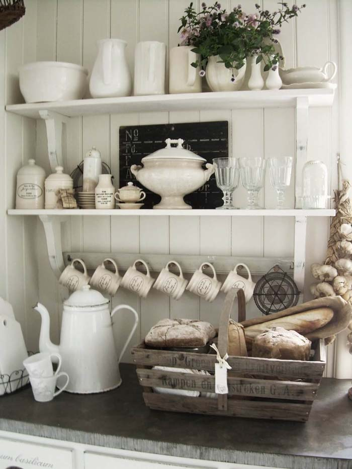 French Kitchen Exposed Shelving Crockery Display #frenchcountry #decor #decorhomeideas