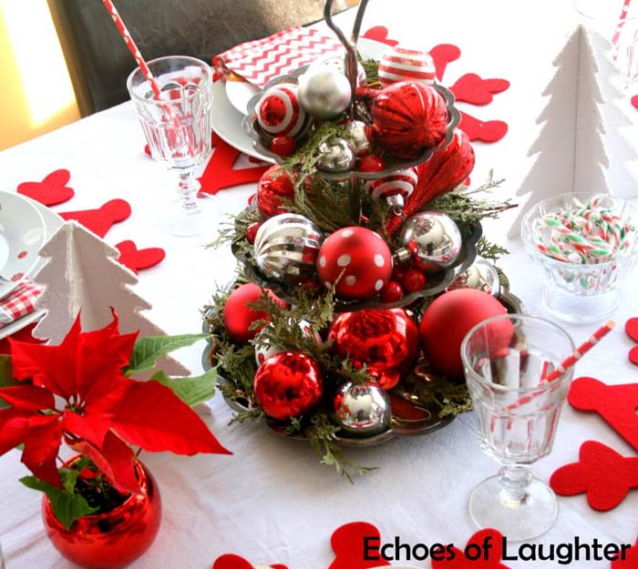 Funky Red And Silver Ornaments With Cedar Boughs #Christmas #cakestand #decorhomeideas