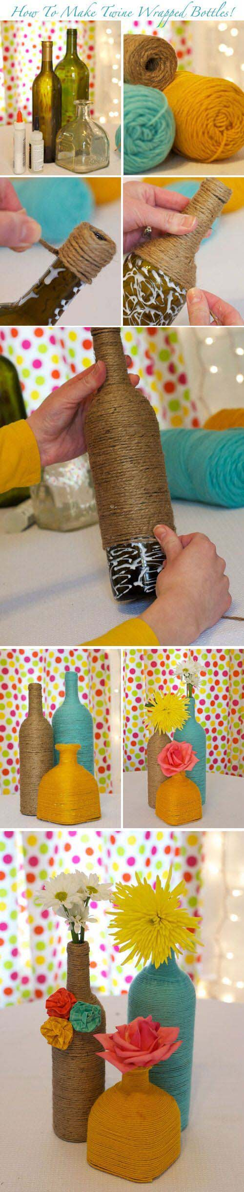 Gorgeous Twine Wrapped Bottle #winebottle #crafts #repurpose #decorhomeideas