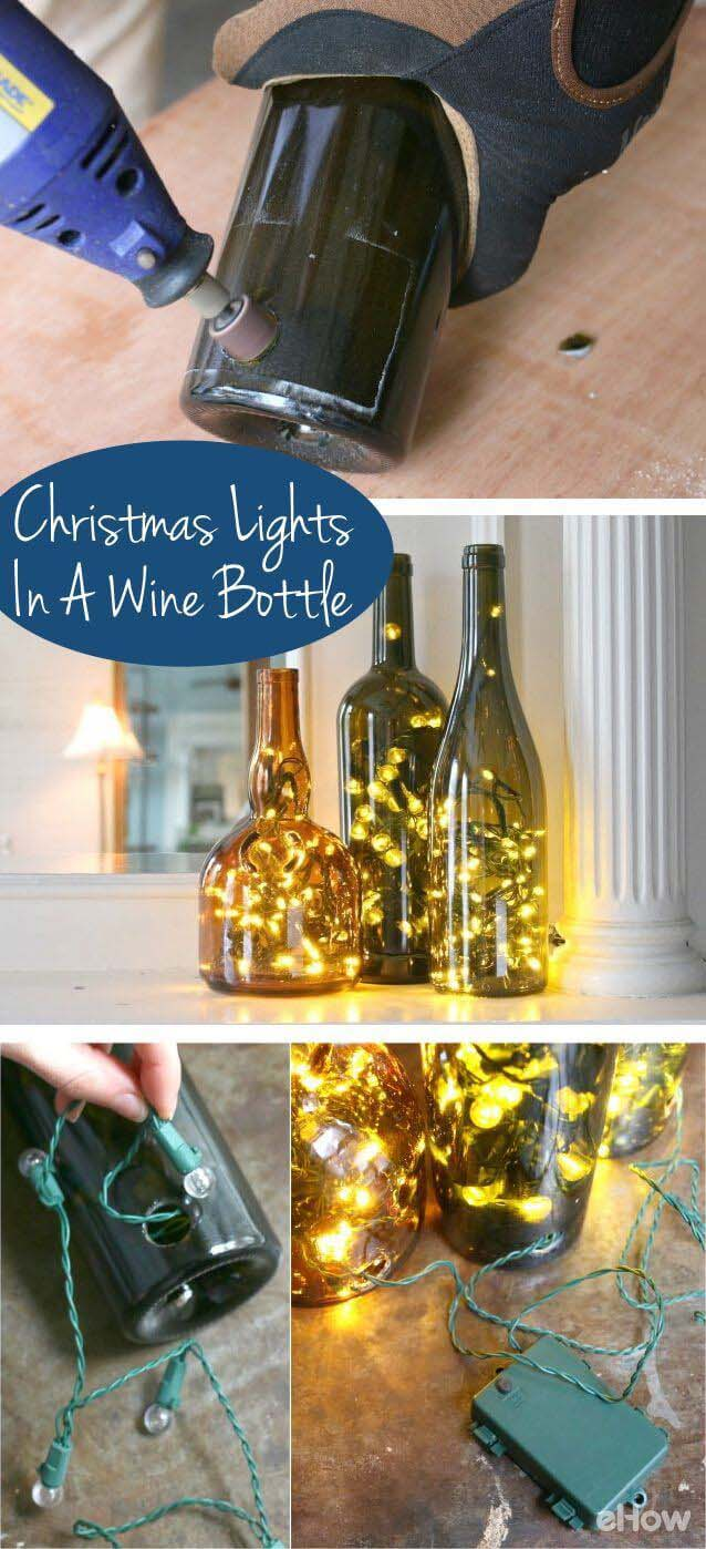 How to Put Christmas Lights in a Wine Bottle #winebottle #crafts #repurpose #decorhomeideas