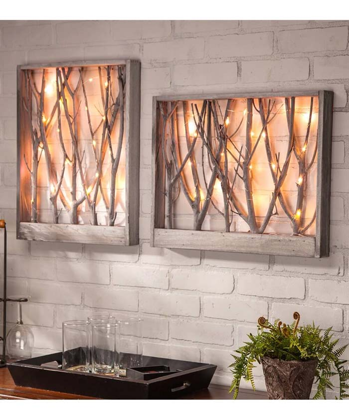 Indoor Forest Framed Branch Lights #branches #homedecor #decorhomeideas