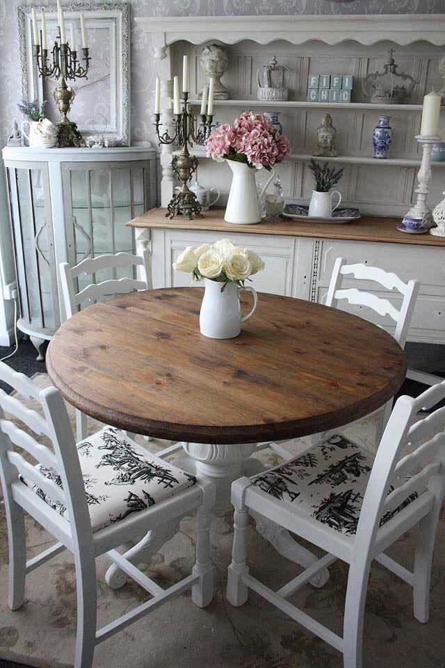 Informal Round Wooden Dining Table #frenchcountry #decor #decorhomeideas