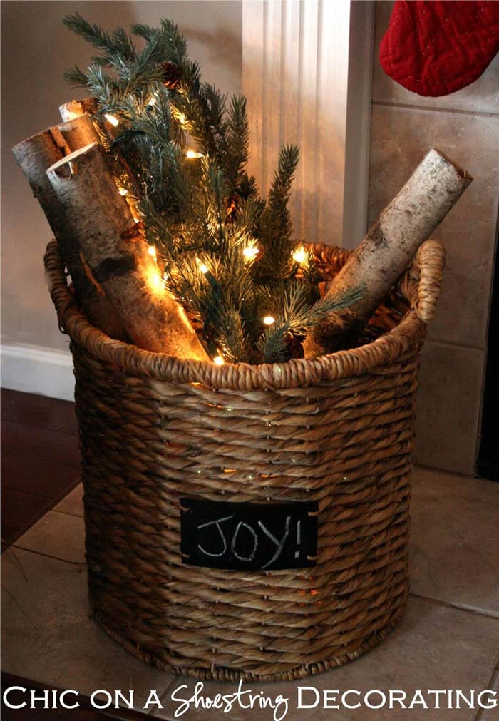Joy Festive Firewood Basket Decor #Christmas #outdoor #planter #decorhomeideas