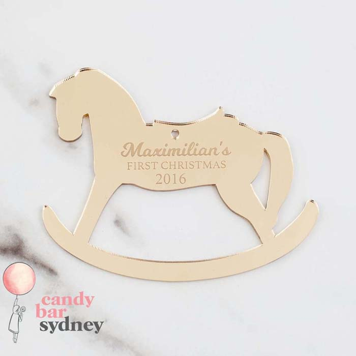 Metal Customizable Rocking Horse Bauble #Christmas #personalizedbaubles #baubles #decorhomeideas
