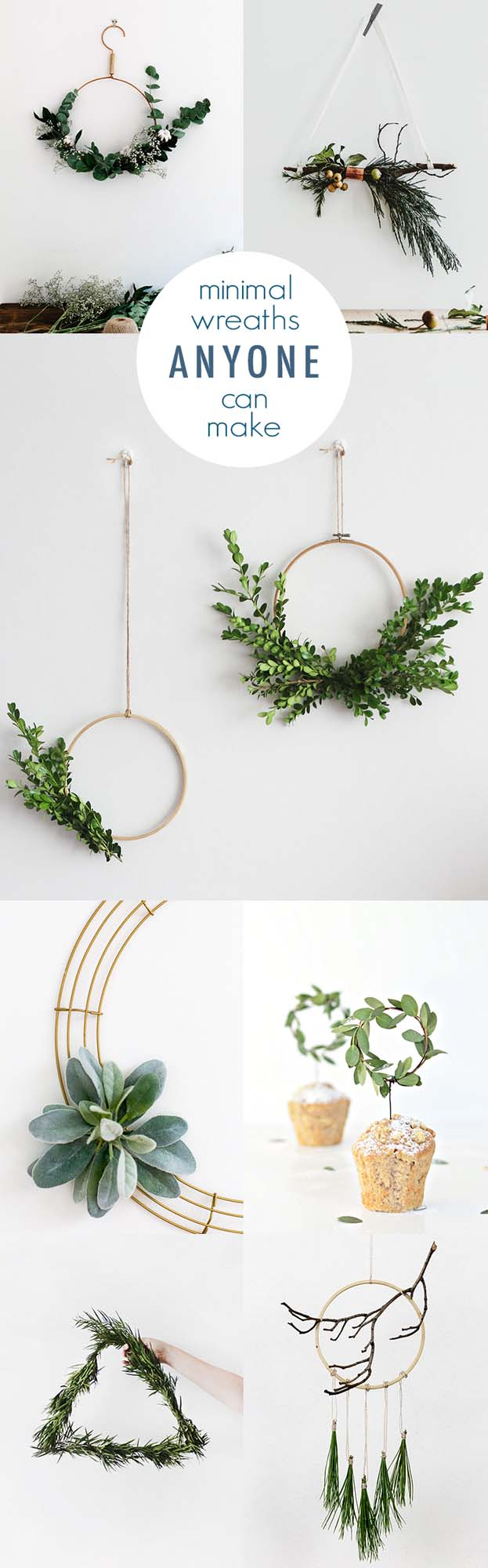 Minimal DIY Wreaths #Christmas #minimalist #decor #decorhomeideas