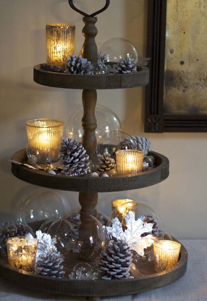 Mismatched Christmas Cake Stand Decor With Silvered Pine Cones #Christmas #cakestand #decorhomeideas