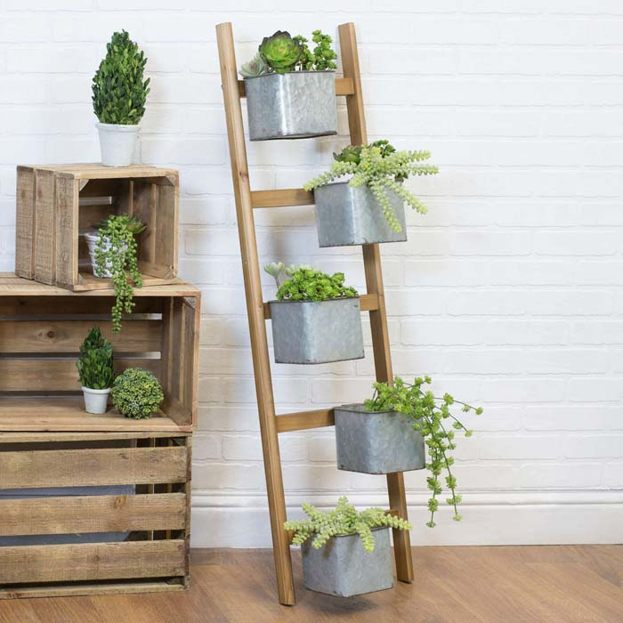 Modern and Rustic #ladderplanter #decorhomeideas