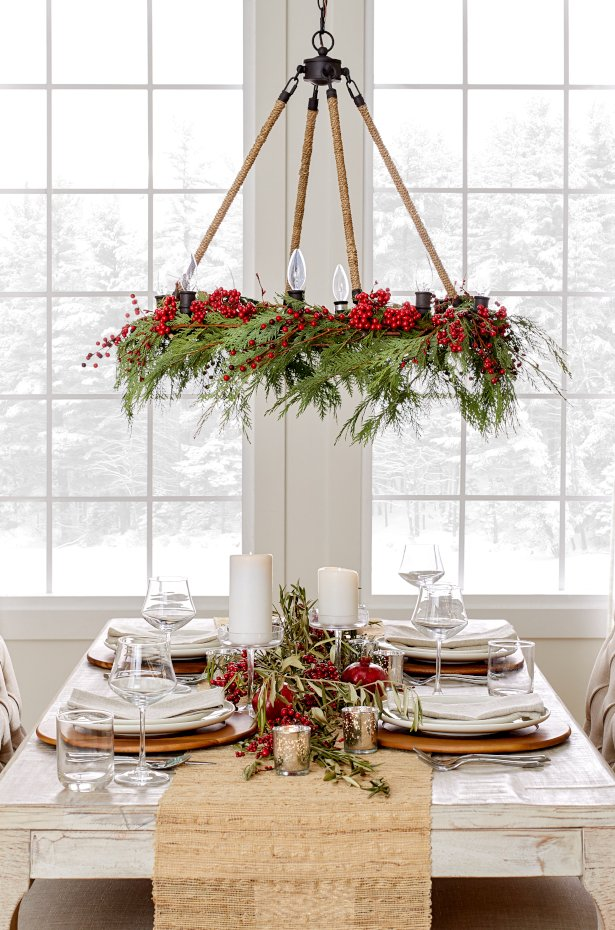 Nature Inspired Christmas Chandelier Decoration