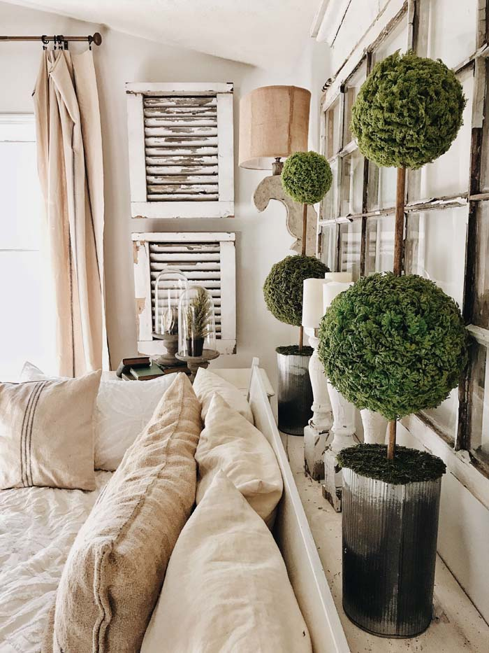 Old Shudders and Elegant Topiaries #farmhouse #furniture #decorhomeideas