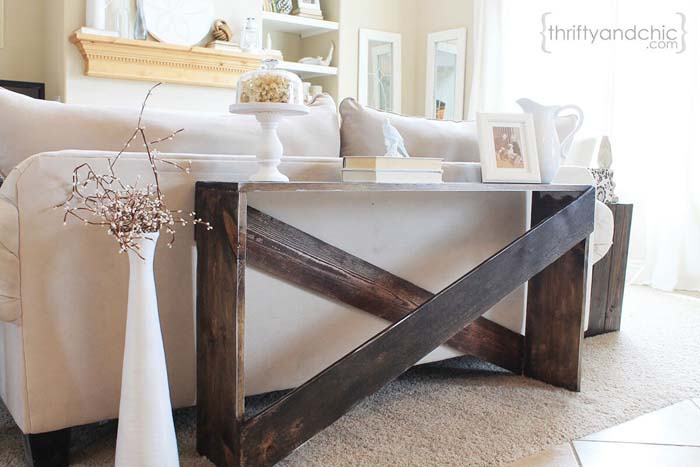 Oversized Wooden Crosshatch Sofa Table #sofatable #decorhomeideas