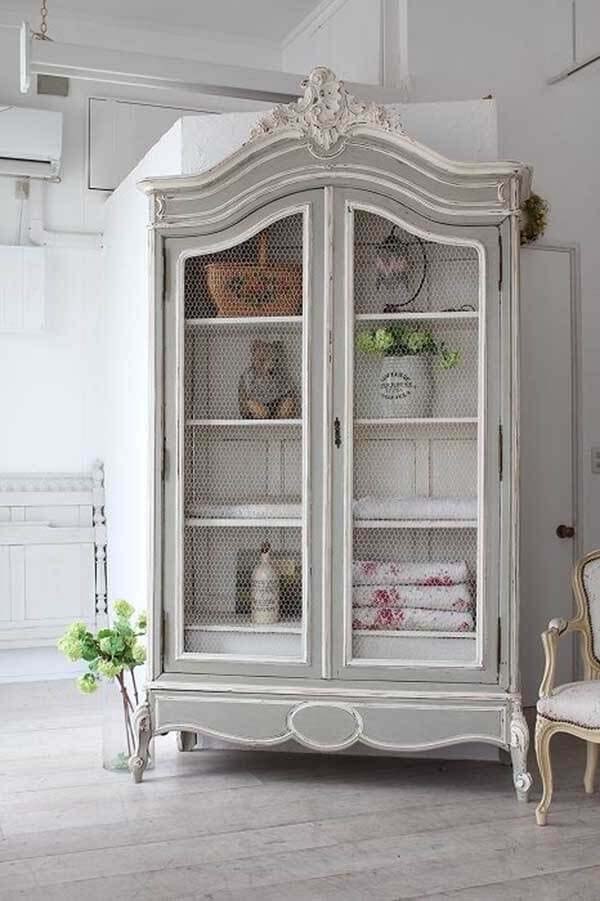 Painted and Antiqued Shabby Chic Armoire #frenchcountry #decor #decorhomeideas