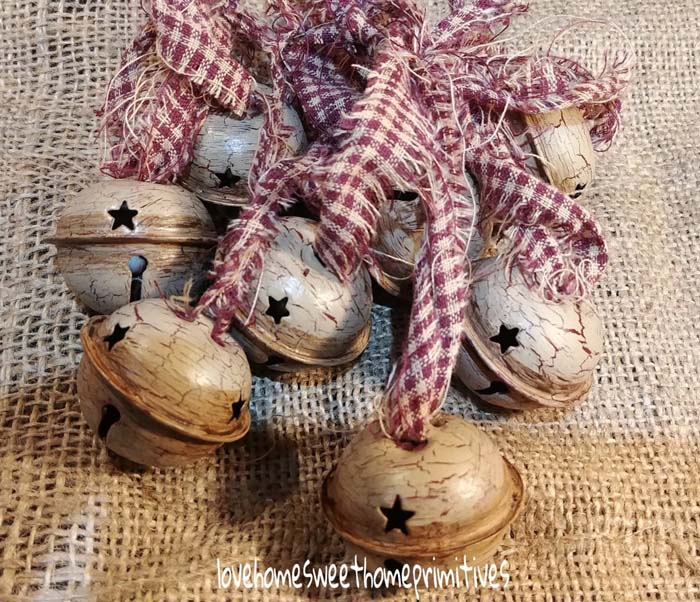 Primitive Crackle Tan Burgundy Stars #Christmas #ornaments #rustic #decorhomeideas