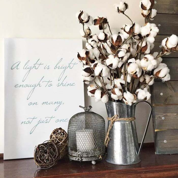Raw Cotton and an Inspirational Sign #farmhouse #furniture #decorhomeideas