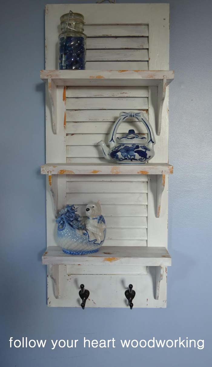 Recycled Wooden Shutter Display Shelf #frenchcountry #decor #decorhomeideas