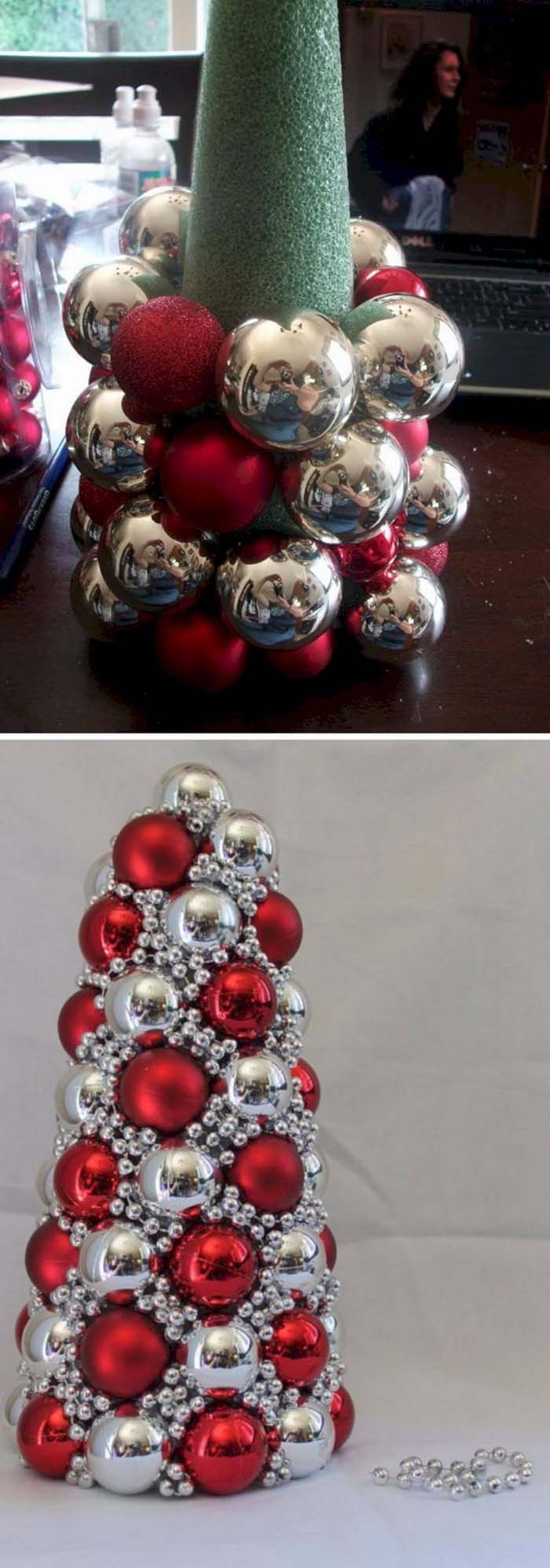 Red and Silver DIY Ornament Tree #Christmas #Christmastree #decorhomeideas
