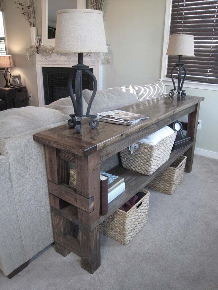 Refitted Block Style Wooden Table #sofatable #decorhomeideas